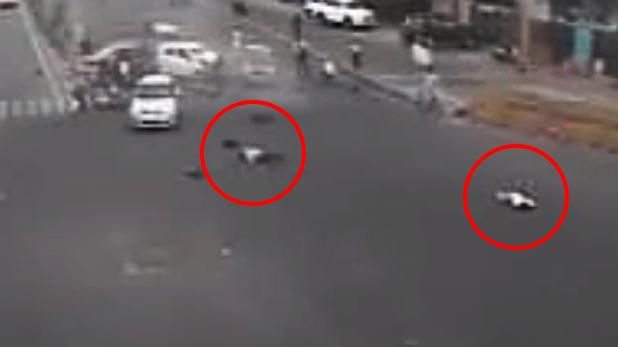 jaipur road accident, VIDEO: जयपुर की JLN रोड पर बड़ा हादसा, 2 की मौत और 6 घायल