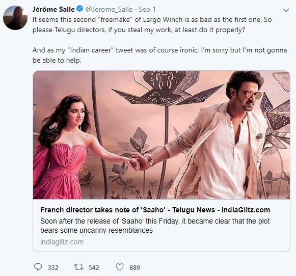 saaho, 'साहो' है इस फ्रेंच फिल्म की कॉपी? प्रभास की फिल्म पर डायरेक्टर ने उठाए सवाल