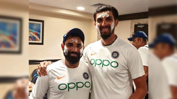 Ind vs wi, ड्रेसिंग रूम में एक साथ कटा ईशांत शर्मा और मोहम्मद शमी का केक, ये थी वजह