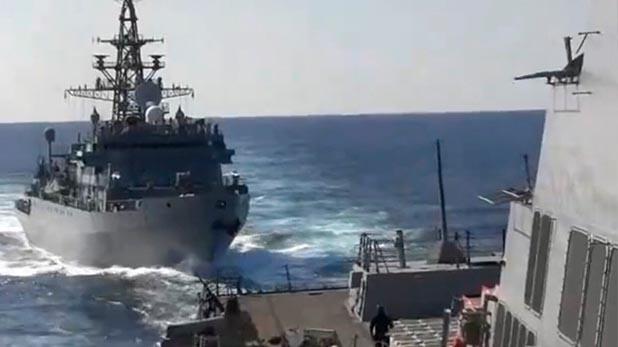 Russian and US warships almost collide in Arabian Sea, आमने-सामने टकराने से बचे अमेरिका-रूस के जहाज, देखें Video