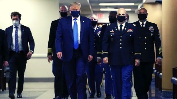 Coronavirus Donald Trump Wears Face Mask, Corona काल में डोनाल्ड ट्रंप ने पहली बार पहना मास्क, घायल सैनिकों को देखने पहुंचे अस्पताल