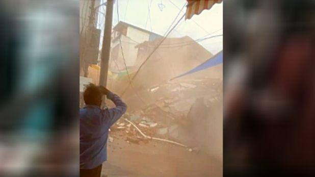 Betul Madhya Pradesh, बैतूल: लगातार हो रही बारिश से 15 सेकेंड में भरभराकर गिरी तीन मंजिला इमारत