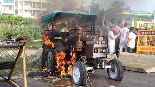 अंबाला में विरोध प्रदर्शन के दौरान जलाया गया ट्रैक्टर
