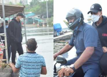 Caught & Clicked : मुंबई में आज इस वजह से लग्जरी कार छोड़कर अक्षय कुमार को करनी पड़ी बाइक की सवारी