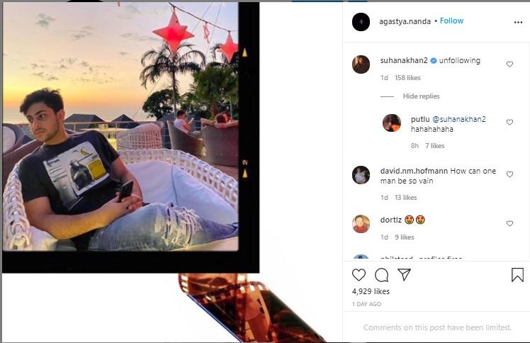 Suhana khan commented on Agastya Nanda post