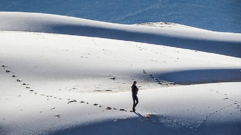 Snow in Sahara desert