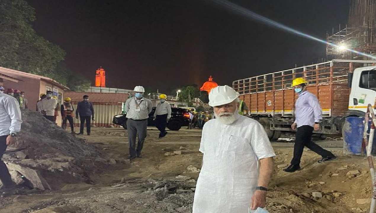 Narendra Modi At Central Vista Project Site